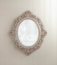 Antiqued Ivory Vintage Finish Wooden Oval Wall Mirror with Flowers & Flourishes
