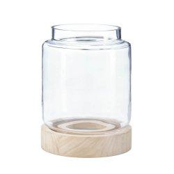 Large Coastal Cabin Glass Hurricane Candle Lantern Natural Wood Base