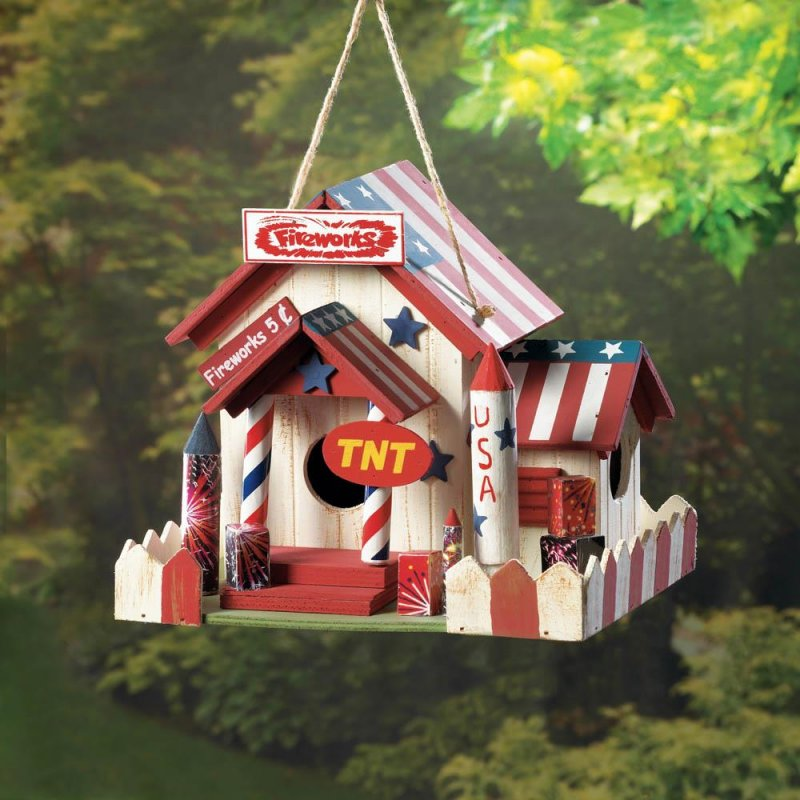 Image 0 of Fireworks Stand Birdhouse w/ American Flag Roof, Red & White Picket Fence