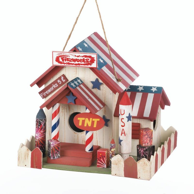 Image 1 of Fireworks Stand Birdhouse w/ American Flag Roof, Red & White Picket Fence