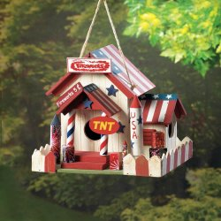 Fireworks Stand Birdhouse w/ American Flag Roof, Red & White Picket Fence