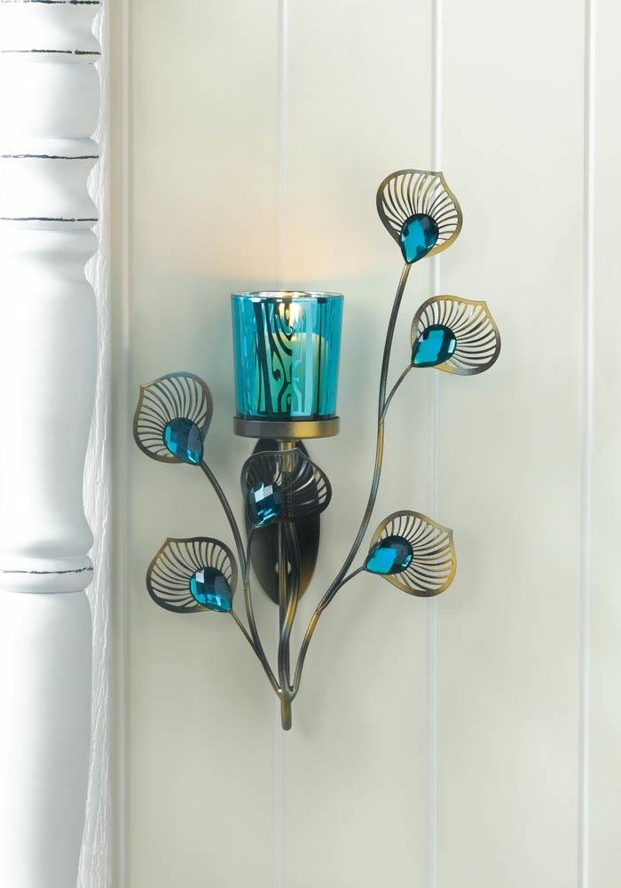 Image 0 of Turquoise Votive Candle Cup on Metallic Metal Peacock Plumes Wall Sconce
