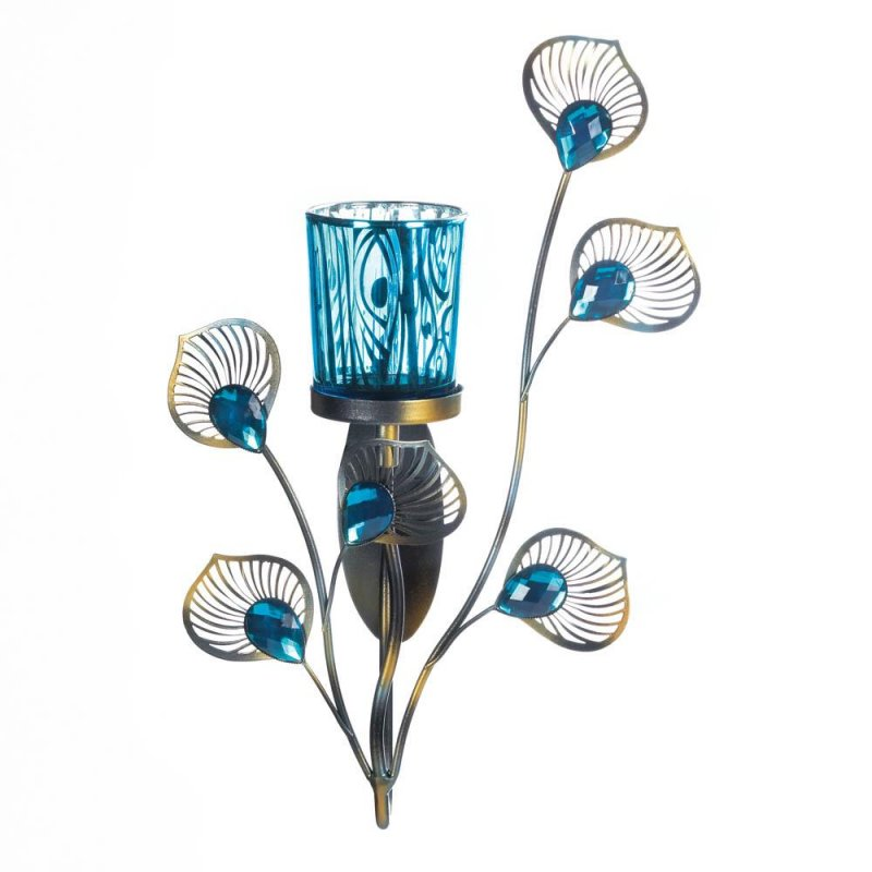 Image 1 of Turquoise Votive Candle Cup on Metallic Metal Peacock Plumes Wall Sconce