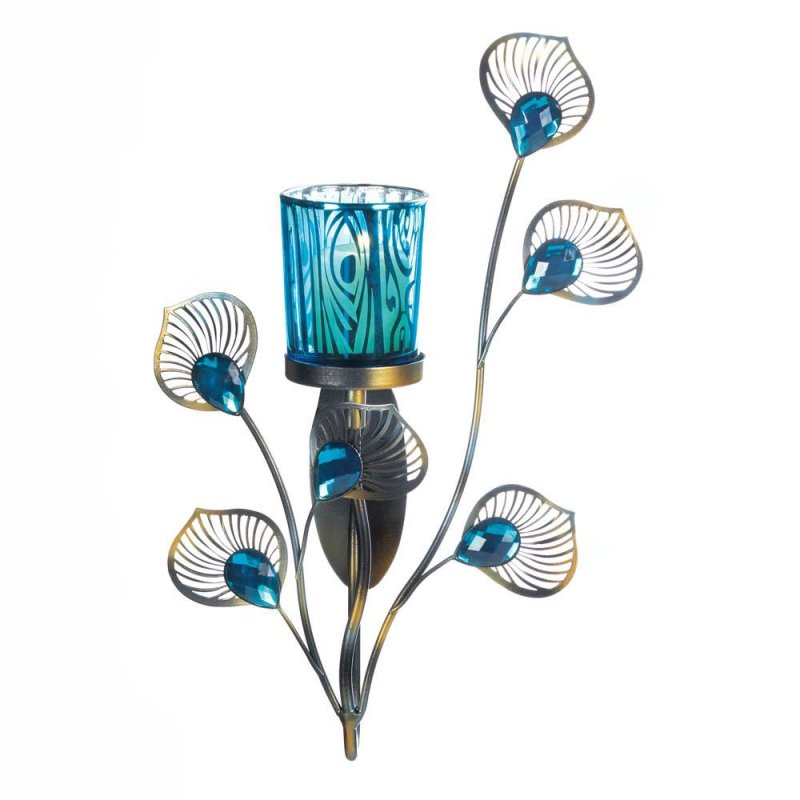 Image 2 of Turquoise Votive Candle Cup on Metallic Metal Peacock Plumes Wall Sconce