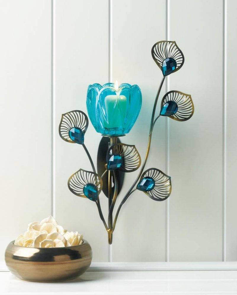 Image 0 of Turquoise Flower Candle Cup on Goldern Metal Peacock Plumes Wall Sconce
