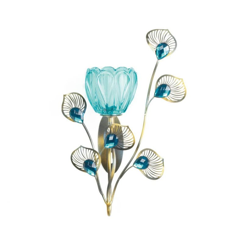 Image 1 of Turquoise Flower Candle Cup on Goldern Metal Peacock Plumes Wall Sconce