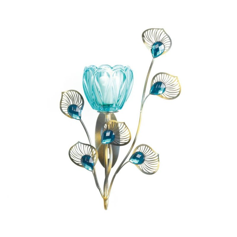 Image 2 of Turquoise Flower Candle Cup on Goldern Metal Peacock Plumes Wall Sconce