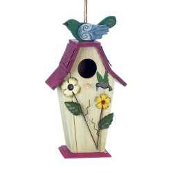 Birdhouse Decorated with Garden Flowers, Hummingbird w/ Birdie on Purple Roof