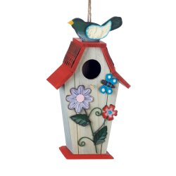 Birdhouse Decorated with Garden Flowers, Butterfly and Birdie on Red Roof