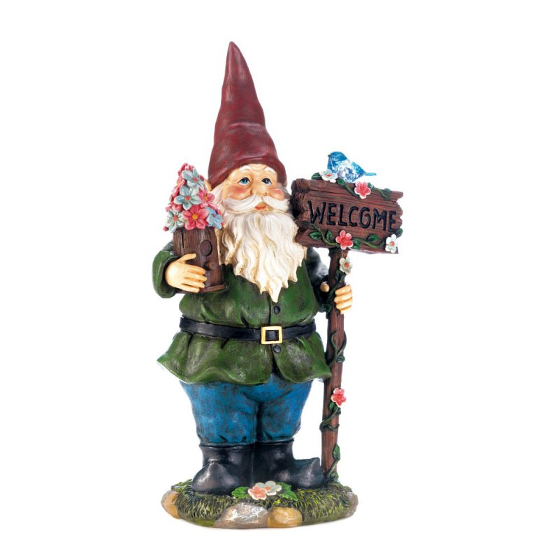 Image 2 of Garden Gnome Holding Welcome Sign with Solar Bluebird Figurine