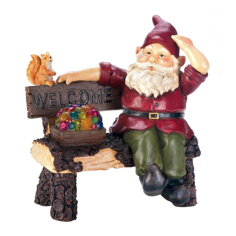 Image 2 of Garden Gnome Sitting on Rustic Bench w/ Squirrel & Solar Box of Gems Figurine
