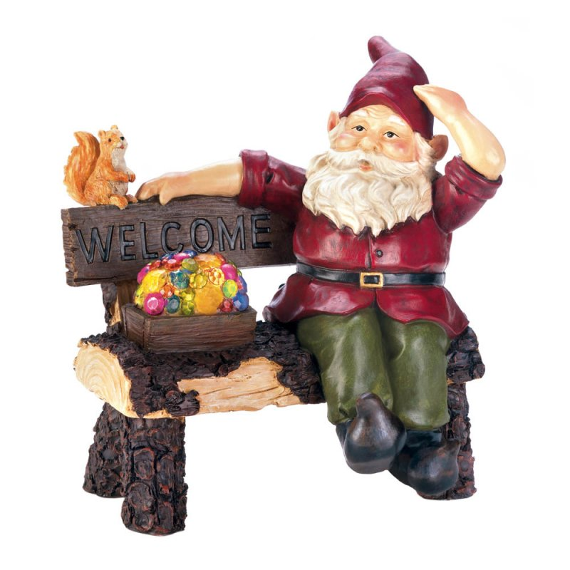Image 3 of Garden Gnome Sitting on Rustic Bench w/ Squirrel & Solar Box of Gems Figurine