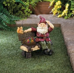 Garden Gnome Sitting on Rustic Bench w/ Squirrel & Solar Box of Gems Figurine