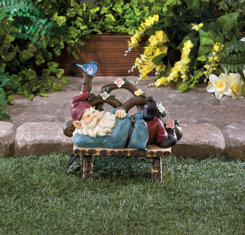 Image 0 of Garden Gnome Napping on Rustic Bench w/ Flowers & Solar Bluebird Figurine