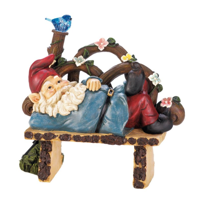 Image 2 of Garden Gnome Napping on Rustic Bench w/ Flowers & Solar Bluebird Figurine