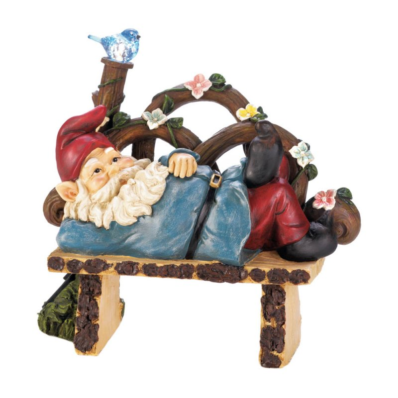 Image 3 of Garden Gnome Napping on Rustic Bench w/ Flowers & Solar Bluebird Figurine
