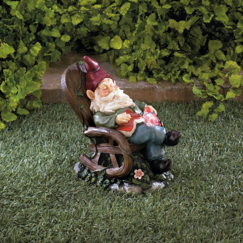 Image 1 of Garden Gnome Napping in Rocking Chair w/ Solar Red Bird on Lap Figurine