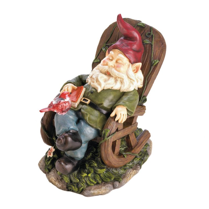Image 2 of Garden Gnome Napping in Rocking Chair w/ Solar Red Bird on Lap Figurine