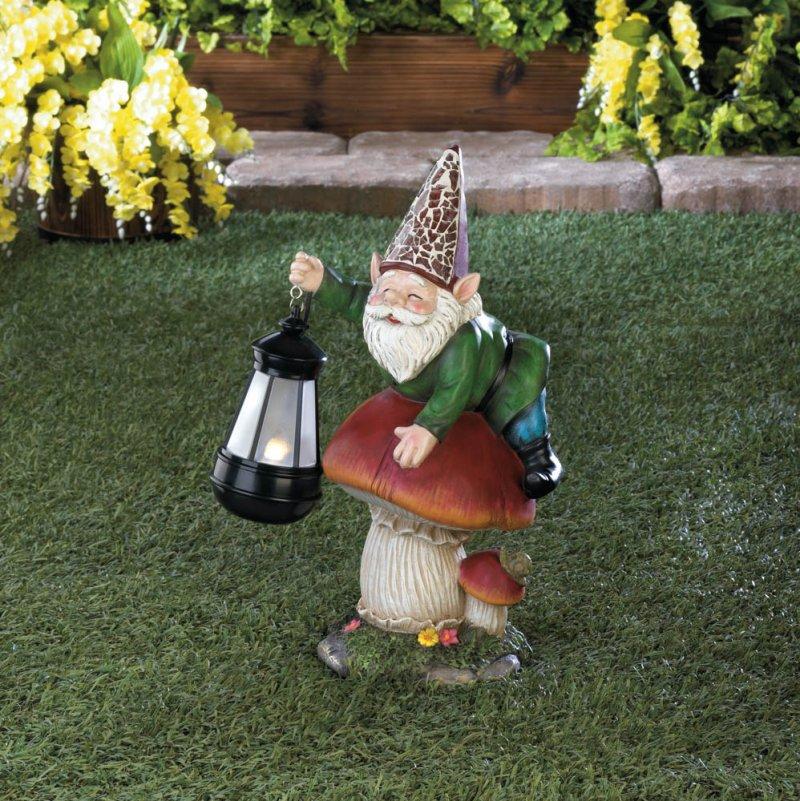 Image 1 of Garden Gnome on Mushroom Holding a Solar Lantern Figurine