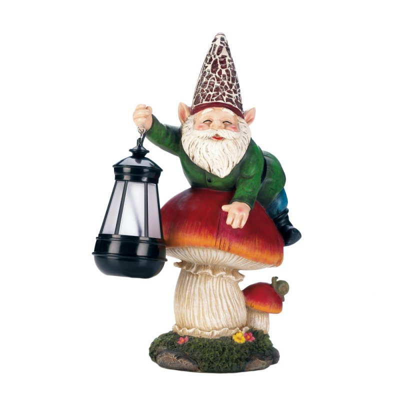 Image 2 of Garden Gnome on Mushroom Holding a Solar Lantern Figurine
