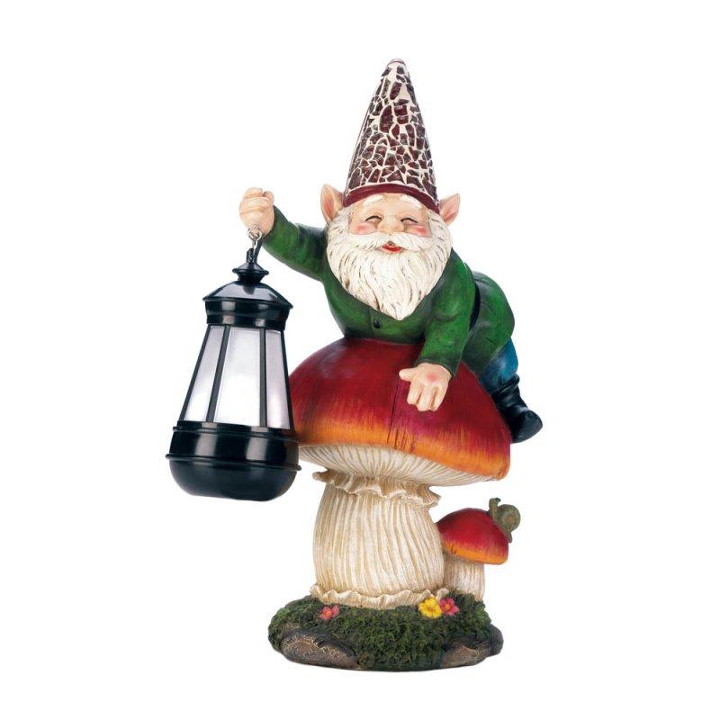 Image 3 of Garden Gnome on Mushroom Holding a Solar Lantern Figurine