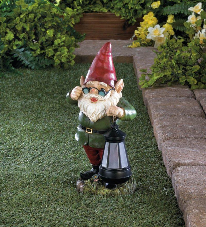 Image 0 of Standing Garden Gnome Keeper of Solar Lantern Figurine Pathway Lighting