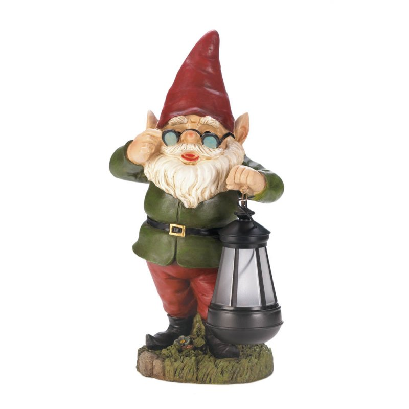 Image 2 of Standing Garden Gnome Keeper of Solar Lantern Figurine Pathway Lighting