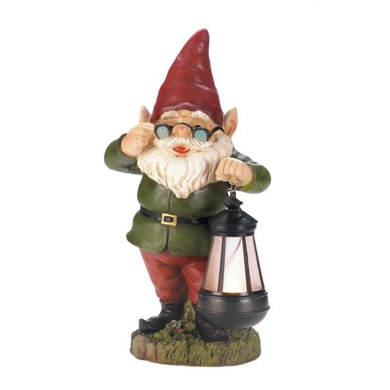 Image 3 of Standing Garden Gnome Keeper of Solar Lantern Figurine Pathway Lighting
