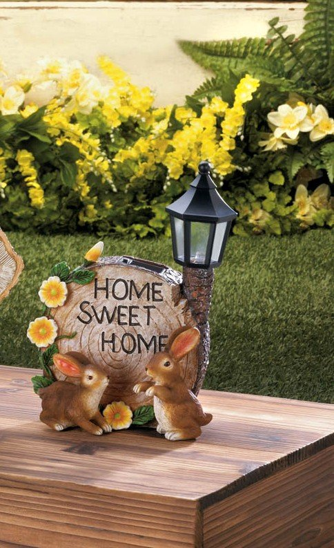 Image 0 of Two Bunnies and Round Faux Home Sweet Home Log w/ Flowers & Solar Lantern