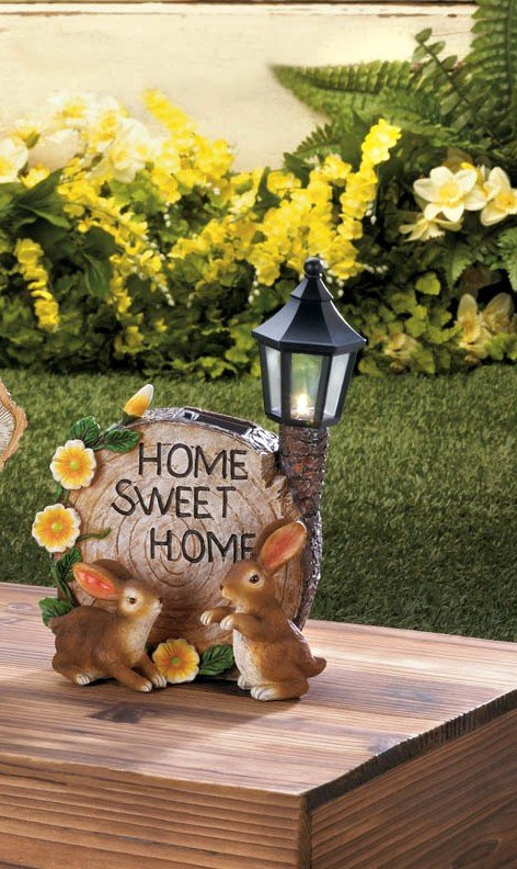 Image 1 of Two Bunnies and Round Faux Home Sweet Home Log w/ Flowers & Solar Lantern