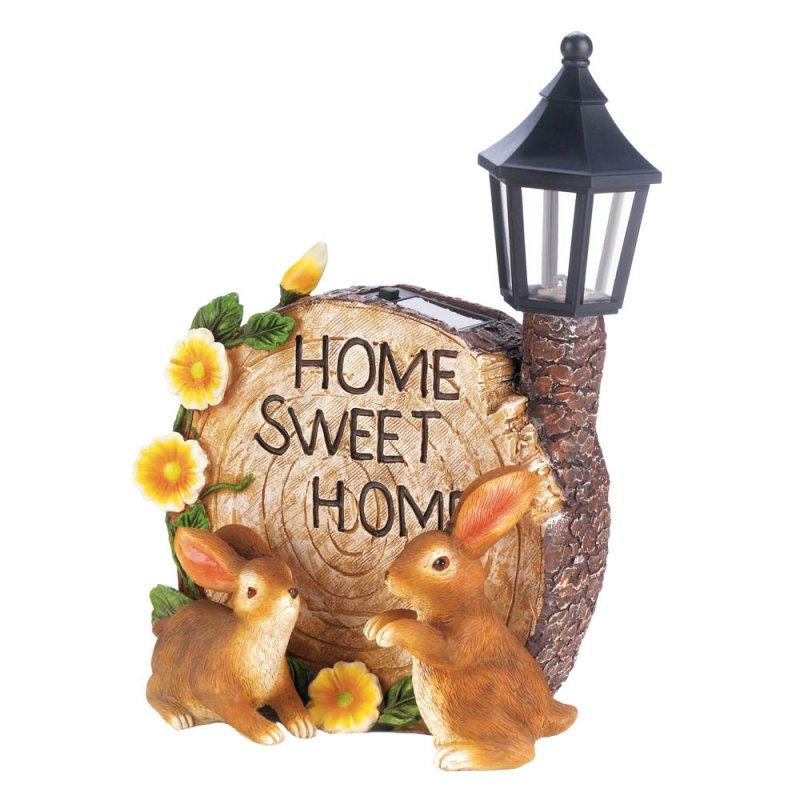 Image 2 of Two Bunnies and Round Faux Home Sweet Home Log w/ Flowers & Solar Lantern