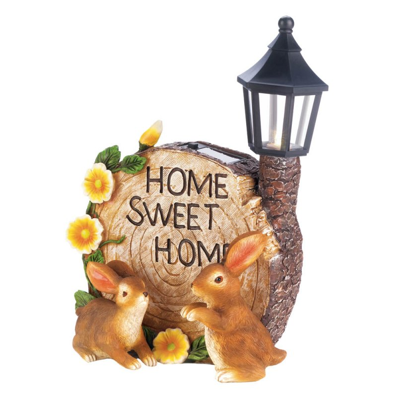 Image 3 of Two Bunnies and Round Faux Home Sweet Home Log w/ Flowers & Solar Lantern