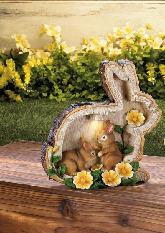 Image 1 of Two Bunnies in Carved Out Rabbit Silhouette w/ Yellow Flowers & Solar Spotlight