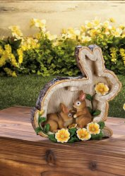 Two Bunnies and Round Faux Home Sweet Home Log w/ Flowers & Solar Lantern