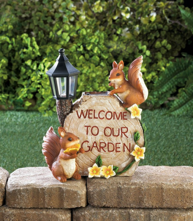 Image 0 of Two Squirrels Welcome to my Garden on Faux Sliced Log w/ Flowers & Solar Lantern
