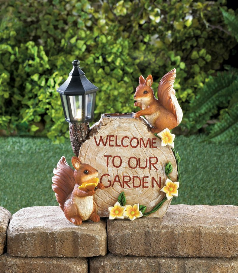 Image 1 of Two Squirrels Welcome to my Garden on Faux Sliced Log w/ Flowers & Solar Lantern