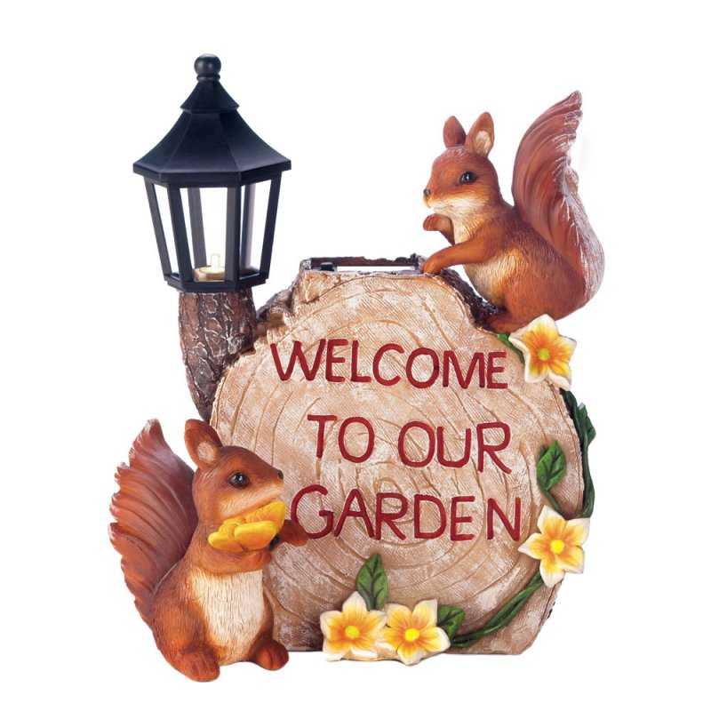 Image 3 of Two Squirrels Welcome to my Garden on Faux Sliced Log w/ Flowers & Solar Lantern