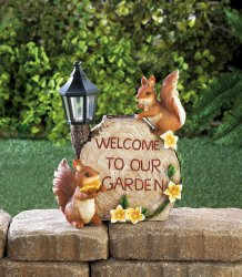 Solar Playful Squirrels in Treehouse Garden Figurine