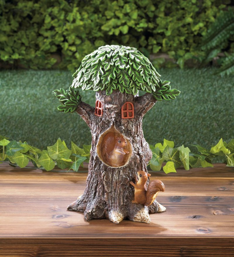 Image 0 of Solar Playful Squirrels in Treehouse Garden Figurine