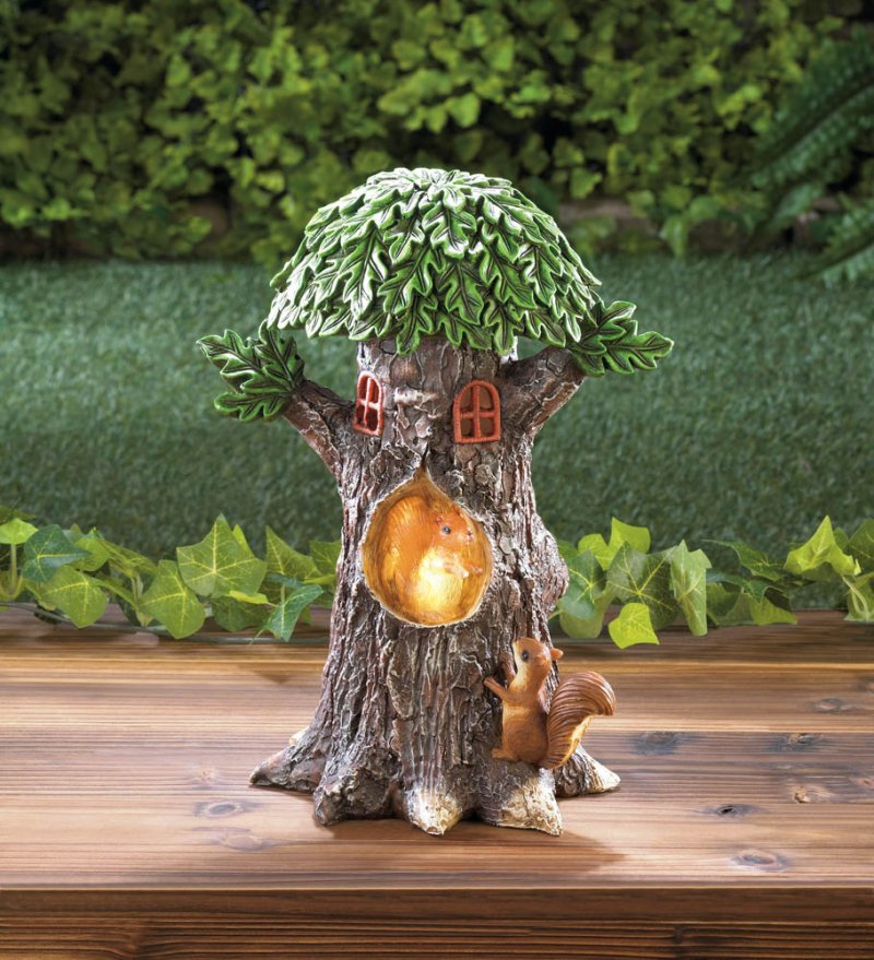 Image 1 of Solar Playful Squirrels in Treehouse Garden Figurine