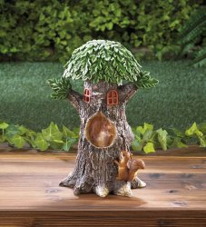Two Squirrels Welcome to my Garden on Faux Sliced Log w/ Flowers & Solar Lantern