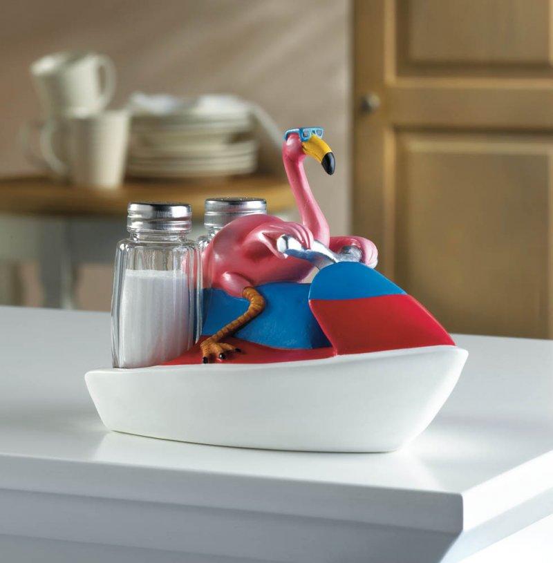 Image 0 of Pink Flamingo on Jet Ski Holder w/ Salt & Pepper Shakers