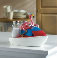 Pink Flamingo on Jet Ski Holder w/ Salt & Pepper Shakers