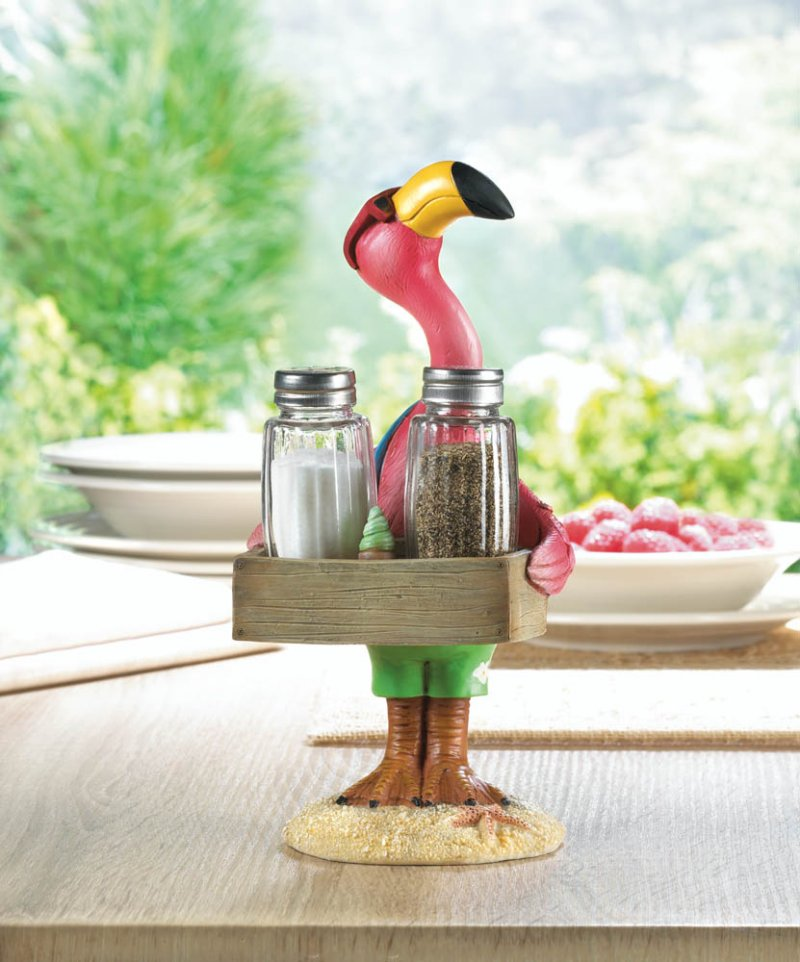 Image 0 of Tropical Beach Dressed Pink Flamingo Holding Tray w/ Salt & Pepper Shakers