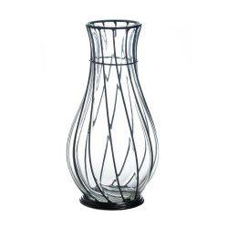 Tall Glass Clear Vase in Black Metal Framework
