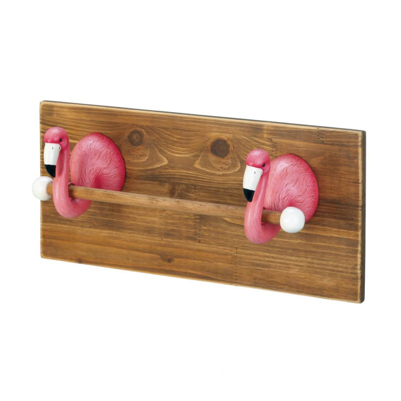 Image 1 of Two Pink Flamingo Busts on Wood Plank Kitchen or Bath Hand Towel Holder