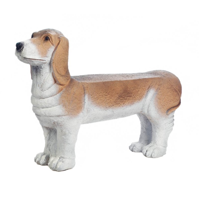 Image 0 of Small Basset Hound Pup Doggy Garden Bench Seats 2 Persons