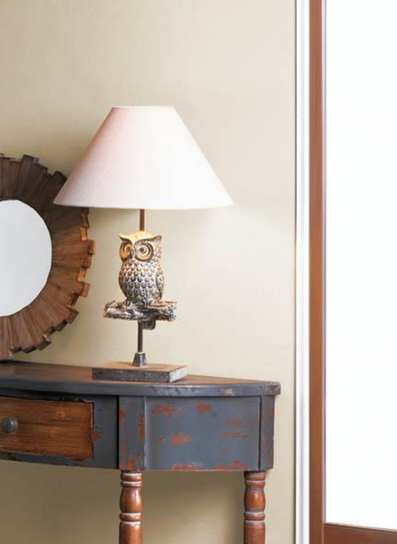 Image 0 of Owl Perched On Branch Table Lamp w/ Neutral Fabric Shade