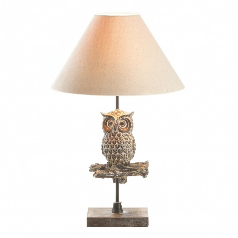 Image 1 of Owl Perched On Branch Table Lamp w/ Neutral Fabric Shade