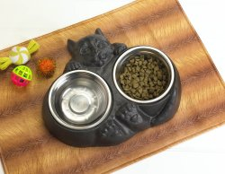 Iron Kitty Cat Shaped Holder w/ 2 Stainless Steel Food & Water Dishes